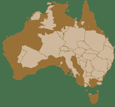 Comparaison de la taille de l'Australie et de l'Europe