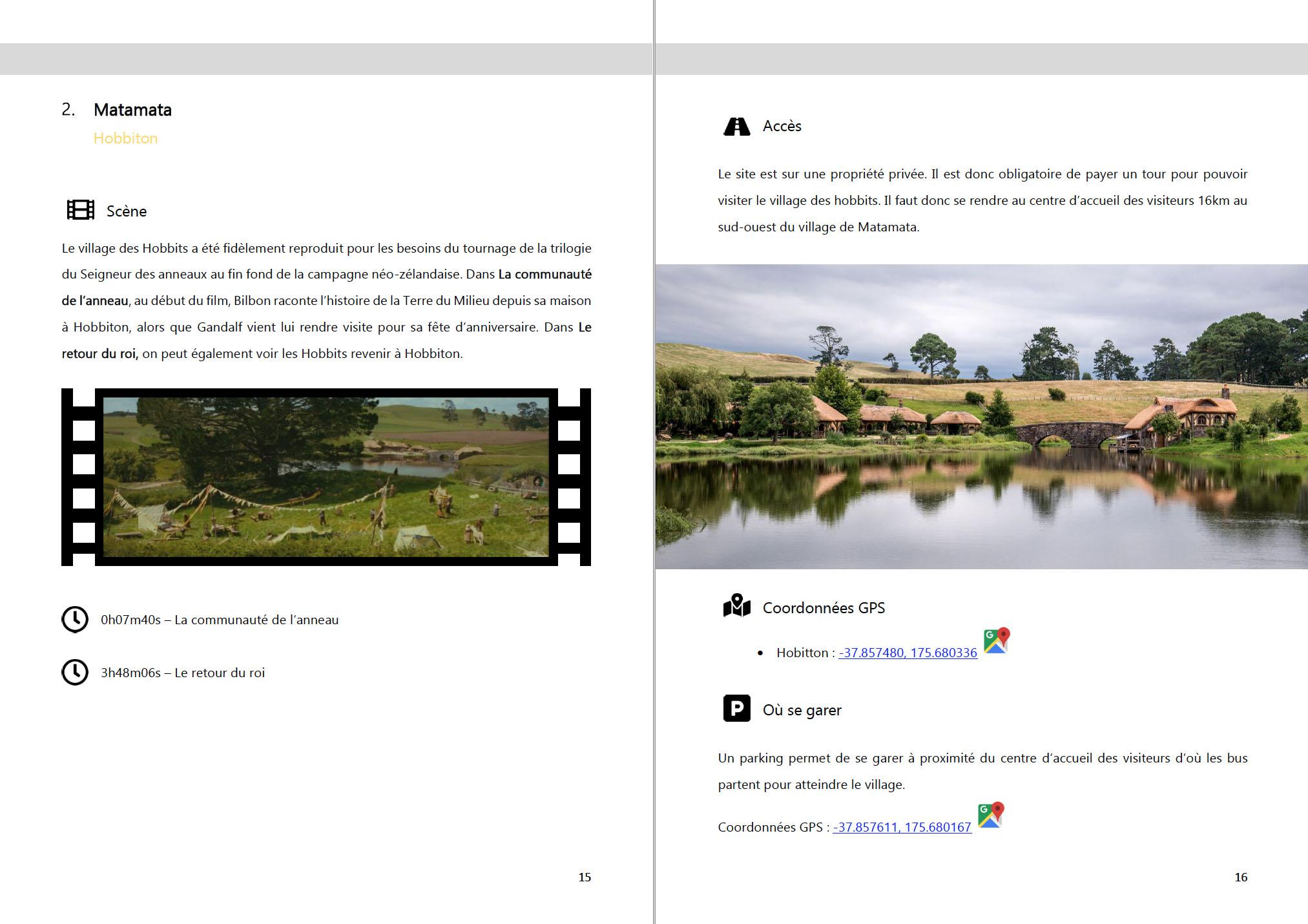 Exemple de page de ebook - 45 lieux tournage du Seigneur des anneaux