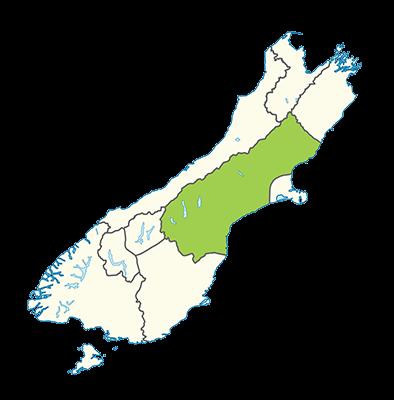 Carte île du Sud Nouvelle-Zélande - Canterbury