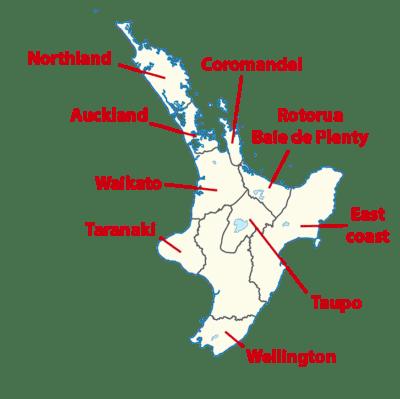 Carte des régions de l'île du Nord de Nouvelle-Zélande