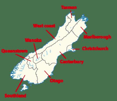 Carte des régions de l'île du Sud de Nouvelle-Zélande