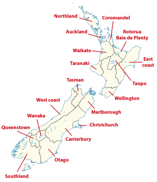 Carte des régions de Nouvelle-Zélande