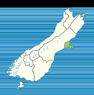 Carte île du Sud Nouvelle-Zélande - Région de Christchurch