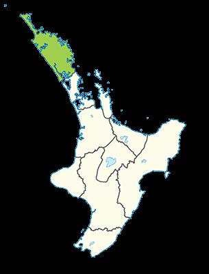 Carte île du Nord Nouvelle-Zélande - Région du Northland