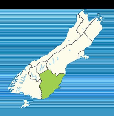 Carte île du Sud Nouvelle-Zélande - Otago