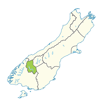 Carte île du Sud Nouvelle-Zélande - Région de Queenstown