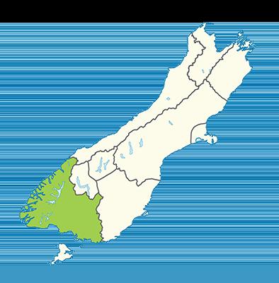 Carte île du Sud Nouvelle-Zélande - Southland