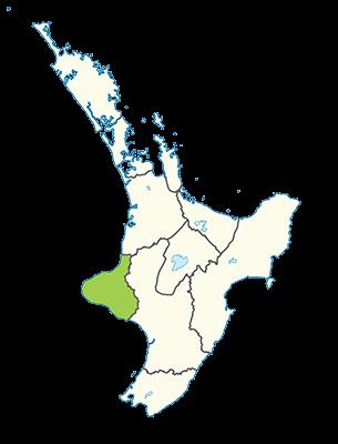 Carte île du Nord Nouvelle-Zélande - Région de Taranaki
