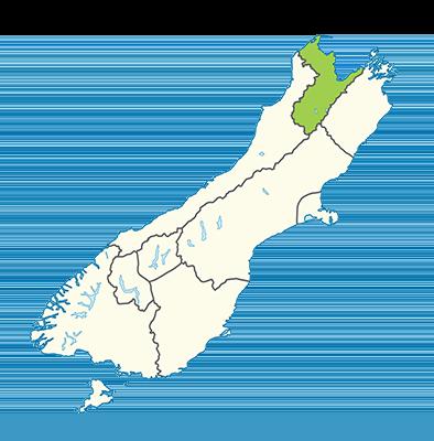 Carte île du Sud Nouvelle-Zélande - Tasman