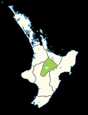 Carte île du Nord Nouvelle-Zélande - Région de Taupo