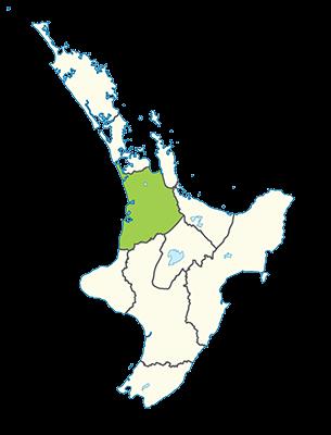 Carte île du Nord Nouvelle-Zélande - Région du Waikato