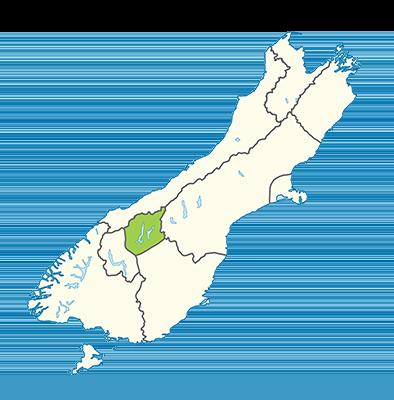 Carte île du Sud Nouvelle-Zélande - Région de Wanaka