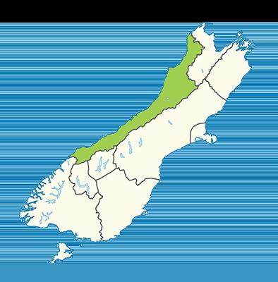 Carte île du Sud Nouvelle-Zélande - Côte Ouest - West coast