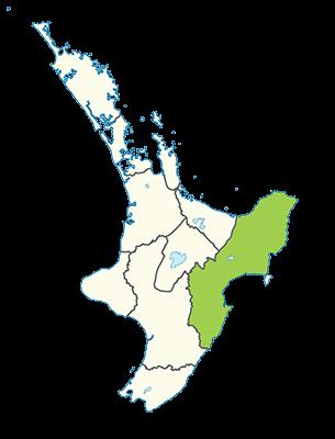 Carte île du Nord Nouvelle-Zélande - Côte Est - East coast