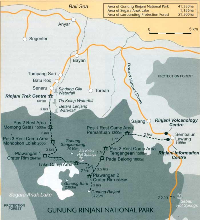 Carte du trek du Rinjani
