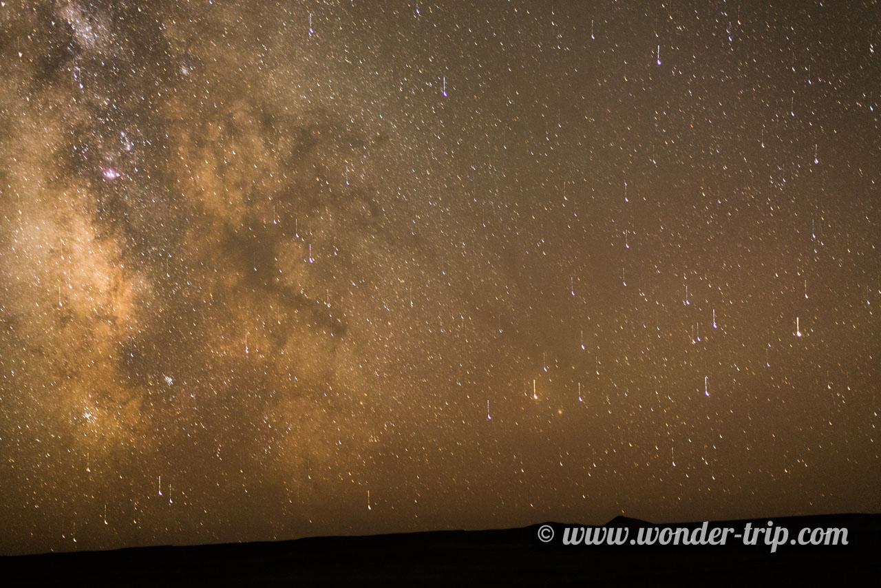 Ciel étoilé près de Bayanzag en Mongolie