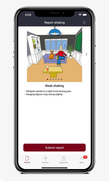 Capture écran application GeoNet Quake