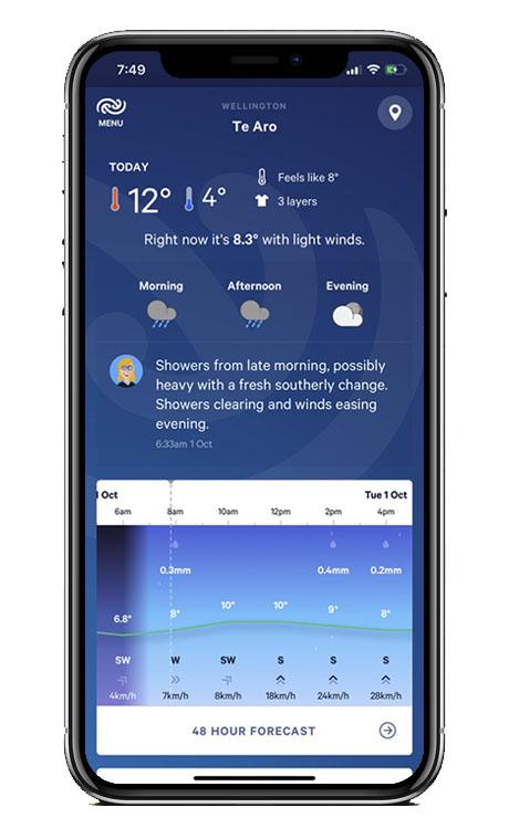 Capture écran application Met Service NZ Weather