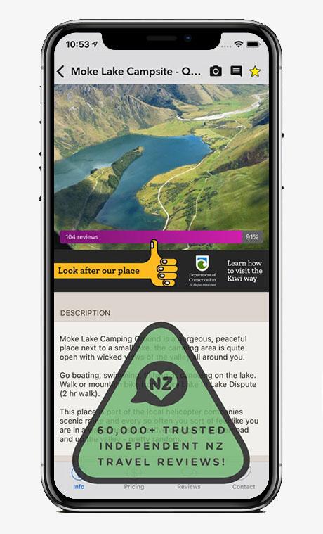 Capture écran application Rankers Camping NZ