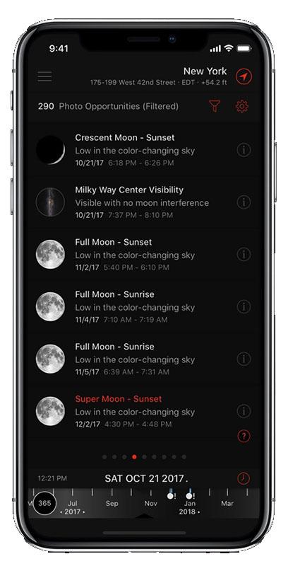 Capture écran application Sun Surveyor
