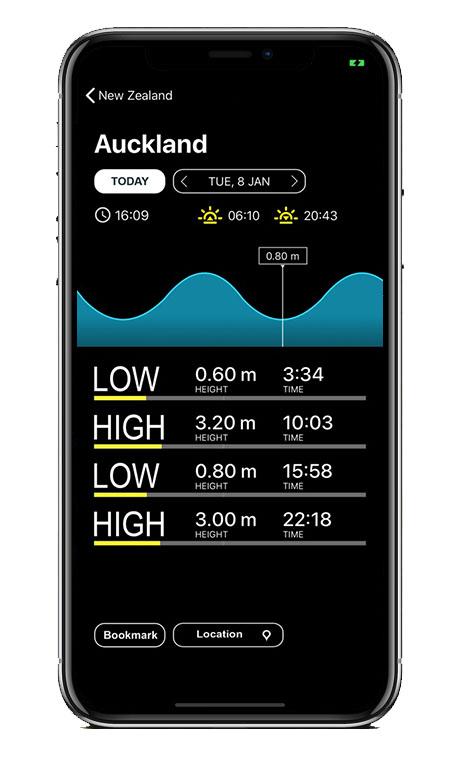 Capture écran application Tides New Zealand