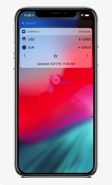Capture écran application XE Currency