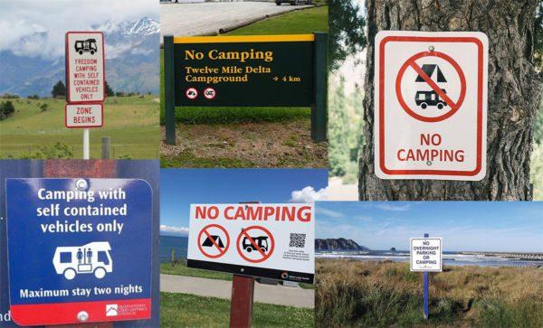 Panneau interdiction camping sauvage en Nouvelle-Zélande