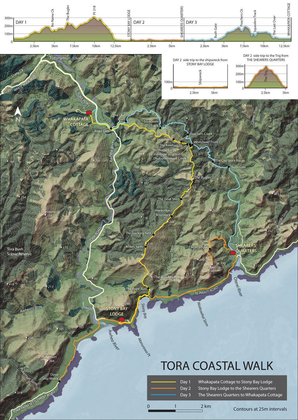 Carte de la randonnée de Tora coastal