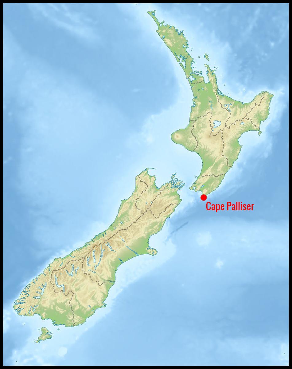 Carte localisation de Cape Palliser en Nouvelle-Zélande