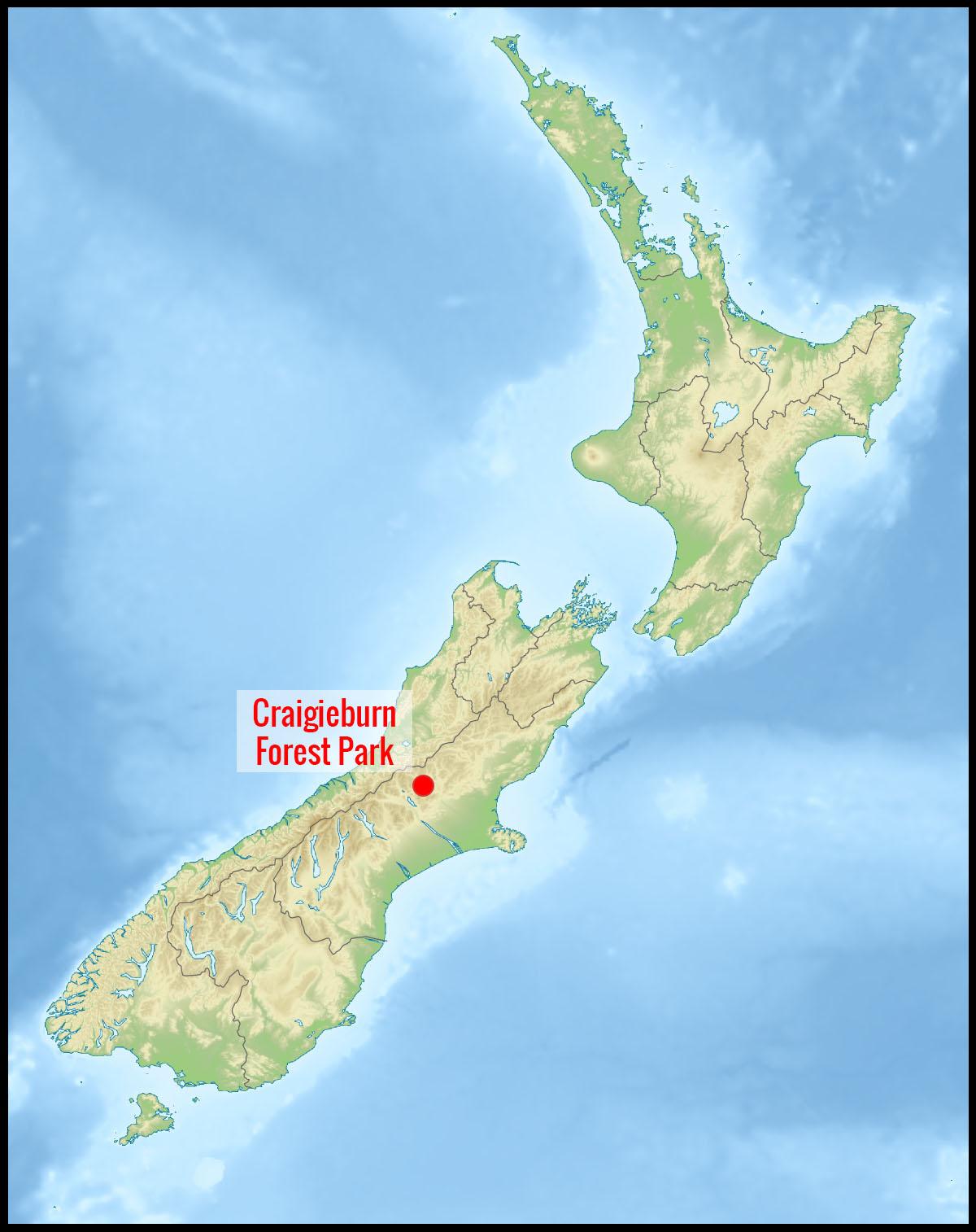 Carte Craigieburn Forest park en Nouvelle-Zelande
