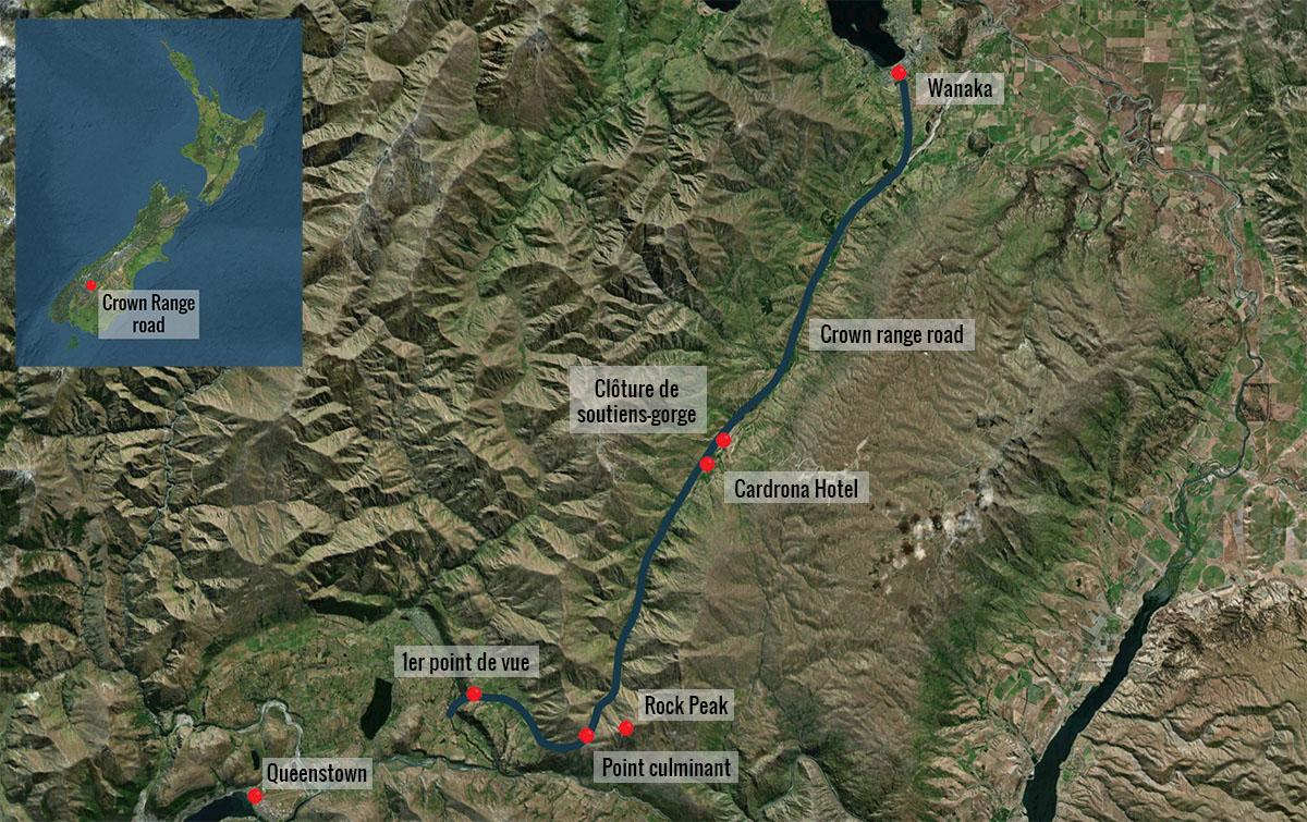 Crown Range road map, New Zealand