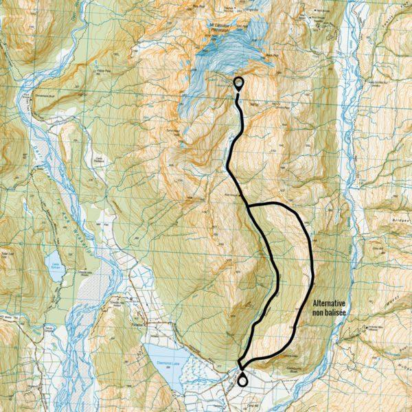 Itinéraire du trek du Earnslaw burn