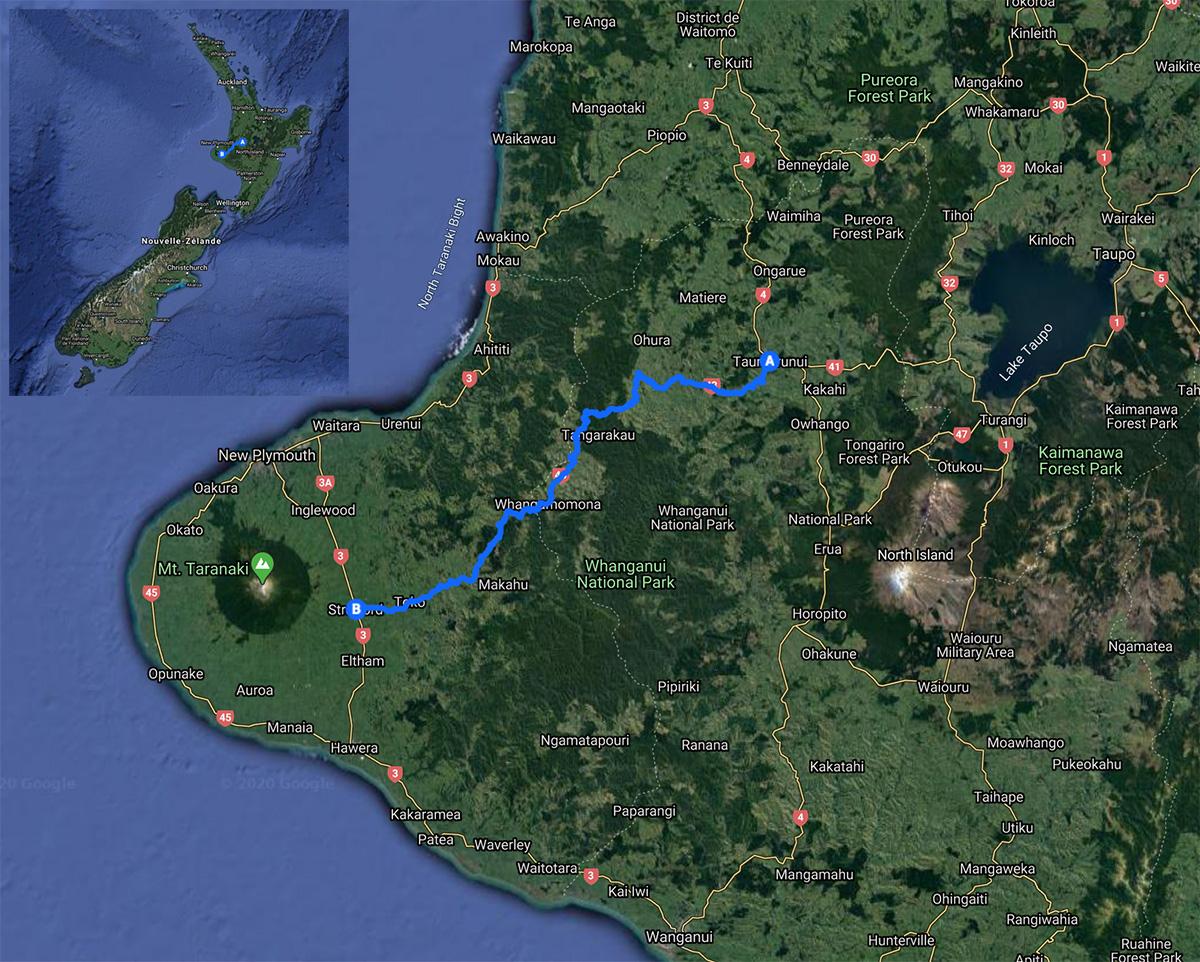 Carte de la Forgotten World Highway en Nouvelle-Zélande