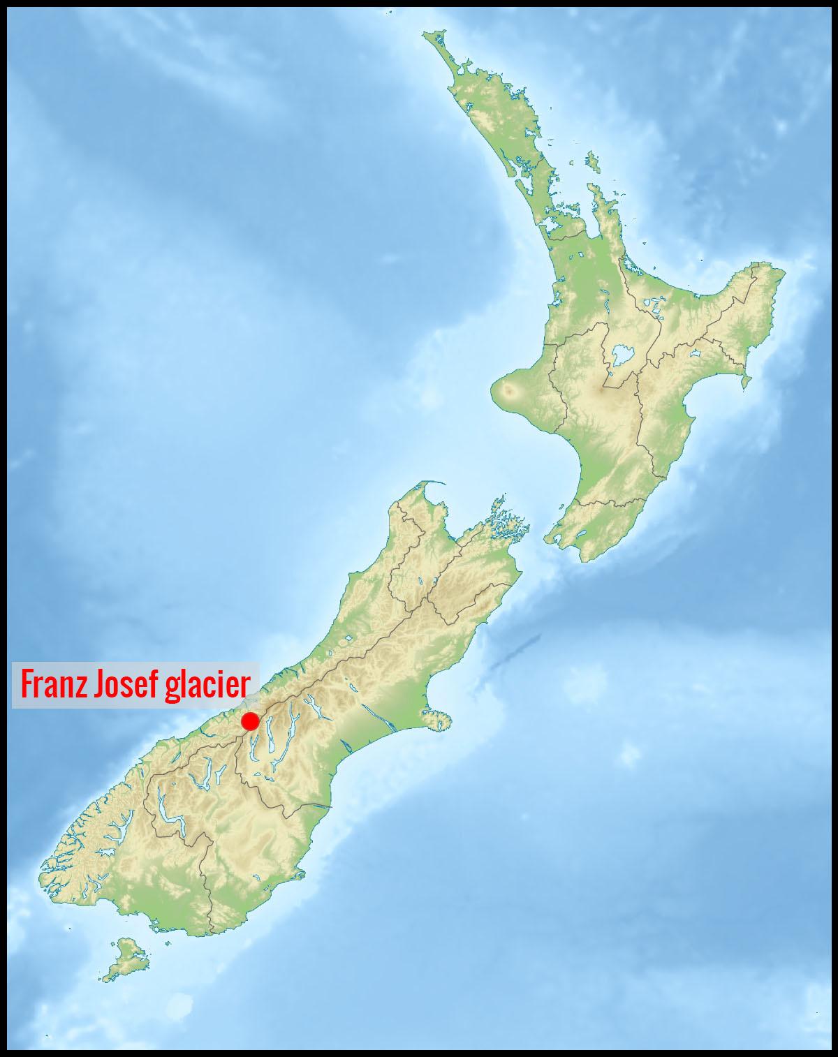 Carte Franz Josef glacier en Nouvelle-Zélande