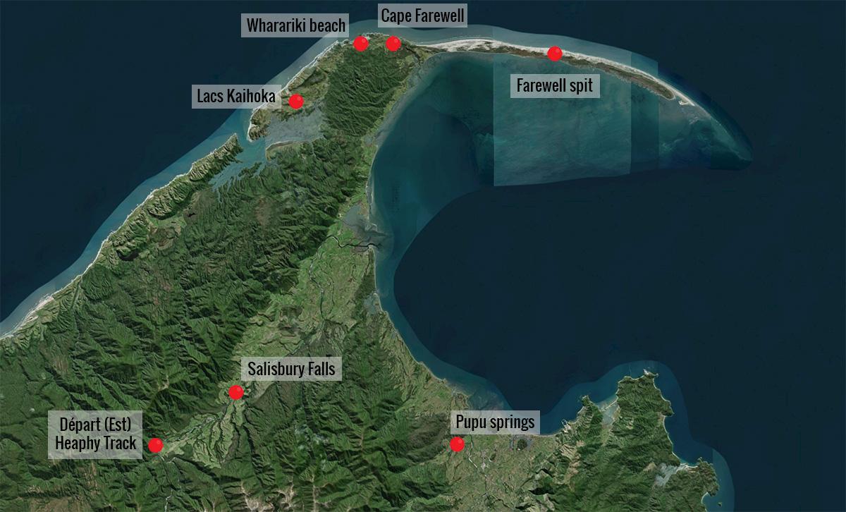 Carte de la Golden bay en Nouvelle-Zélande