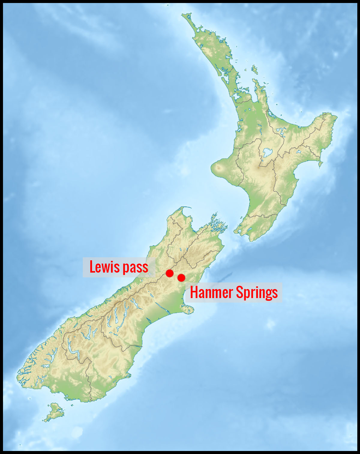 Carte Lewis pass et Hanmer Springs en Nouvelle-Zélande