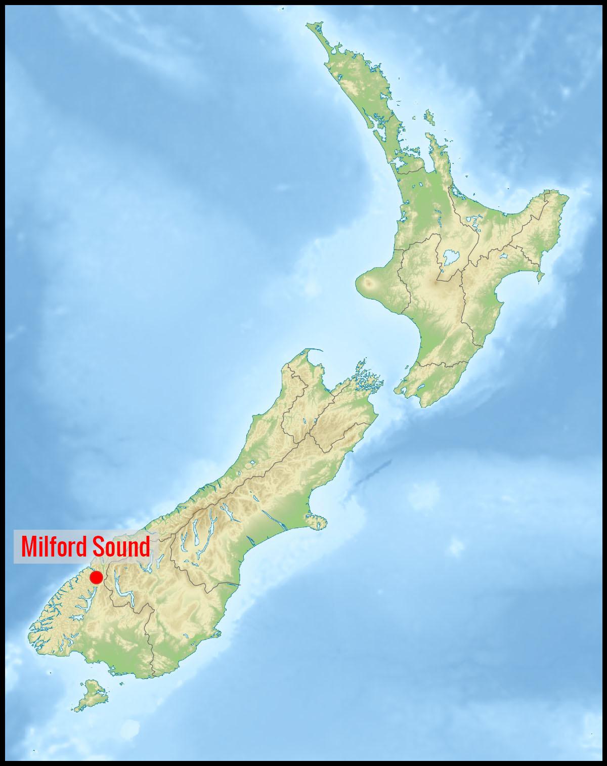 Carte Nouvelle-Zélande : position de Milford Sound