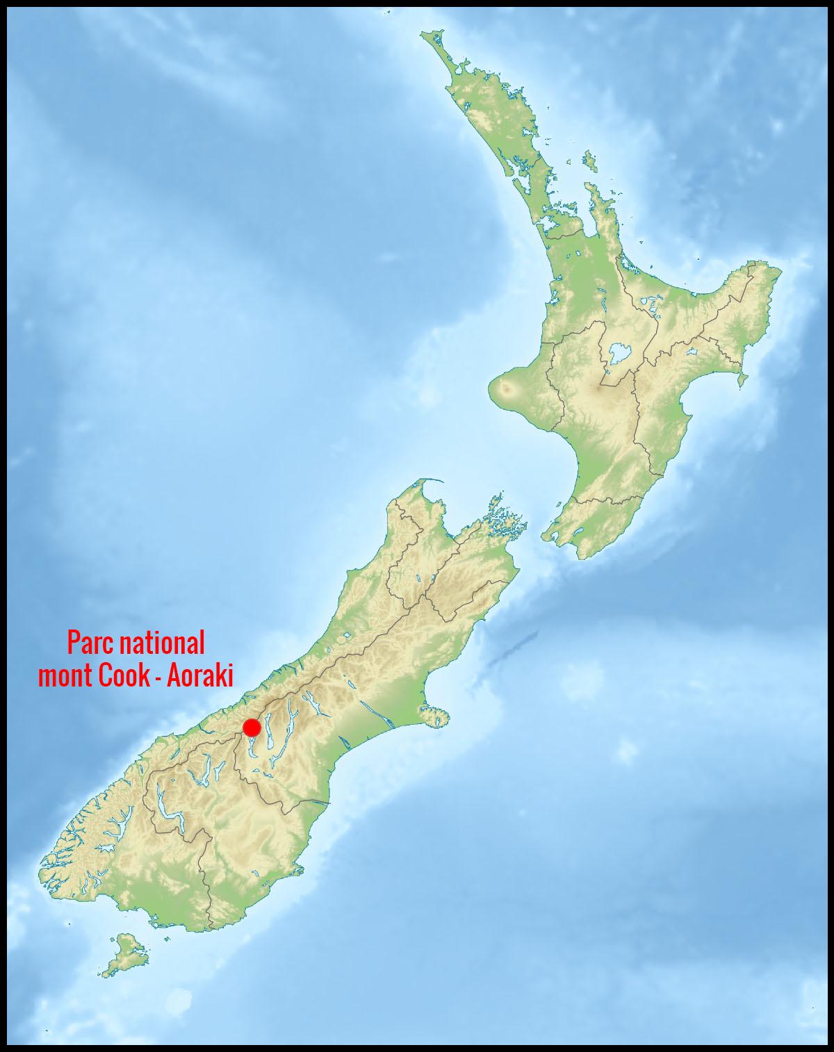 Localisation du parc national du mont Cook - Aoraki en Nouvelle-Zélande