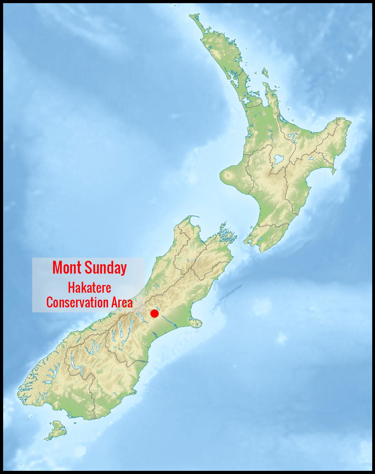 Carte mont Sunday et Hakatere Conservation Park en Nouvelle-Zélande