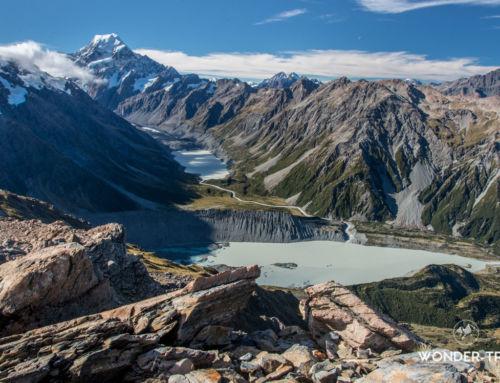 Randonnée de Mueller Hut: panorama sur la vallée du mont Cook
