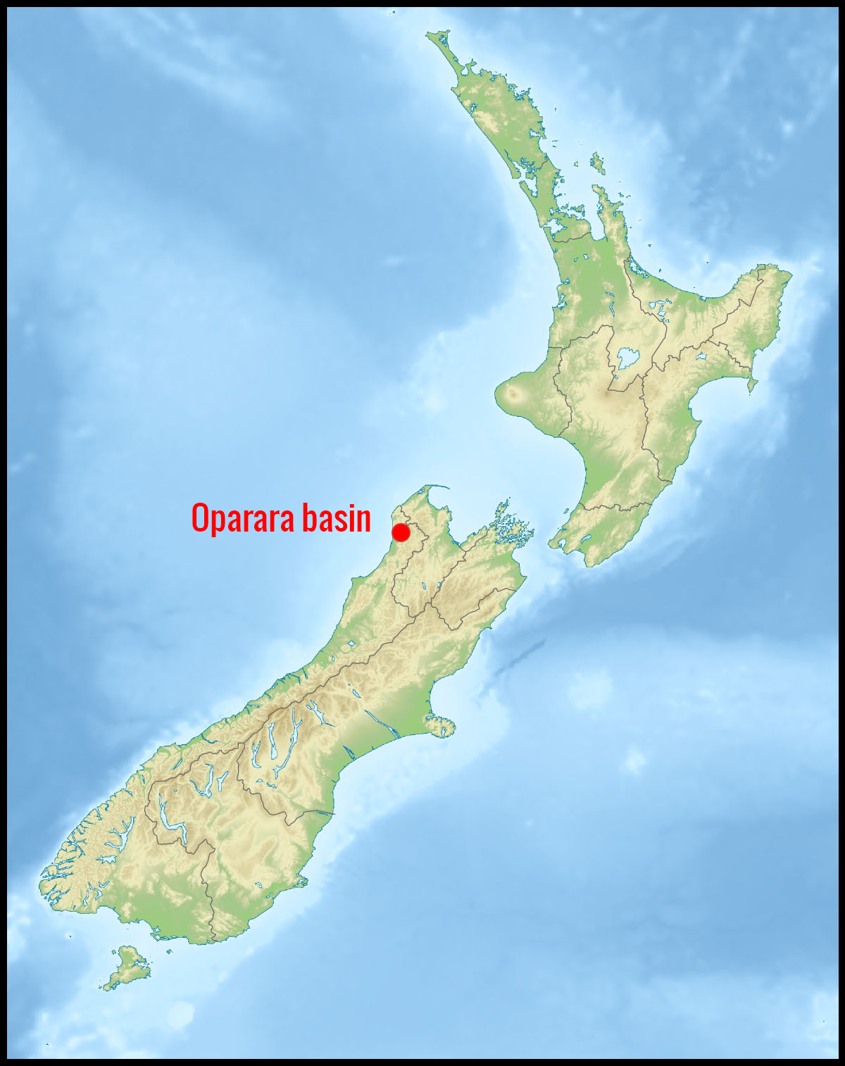 Carte position Oparara basin en Nouvelle-Zélande