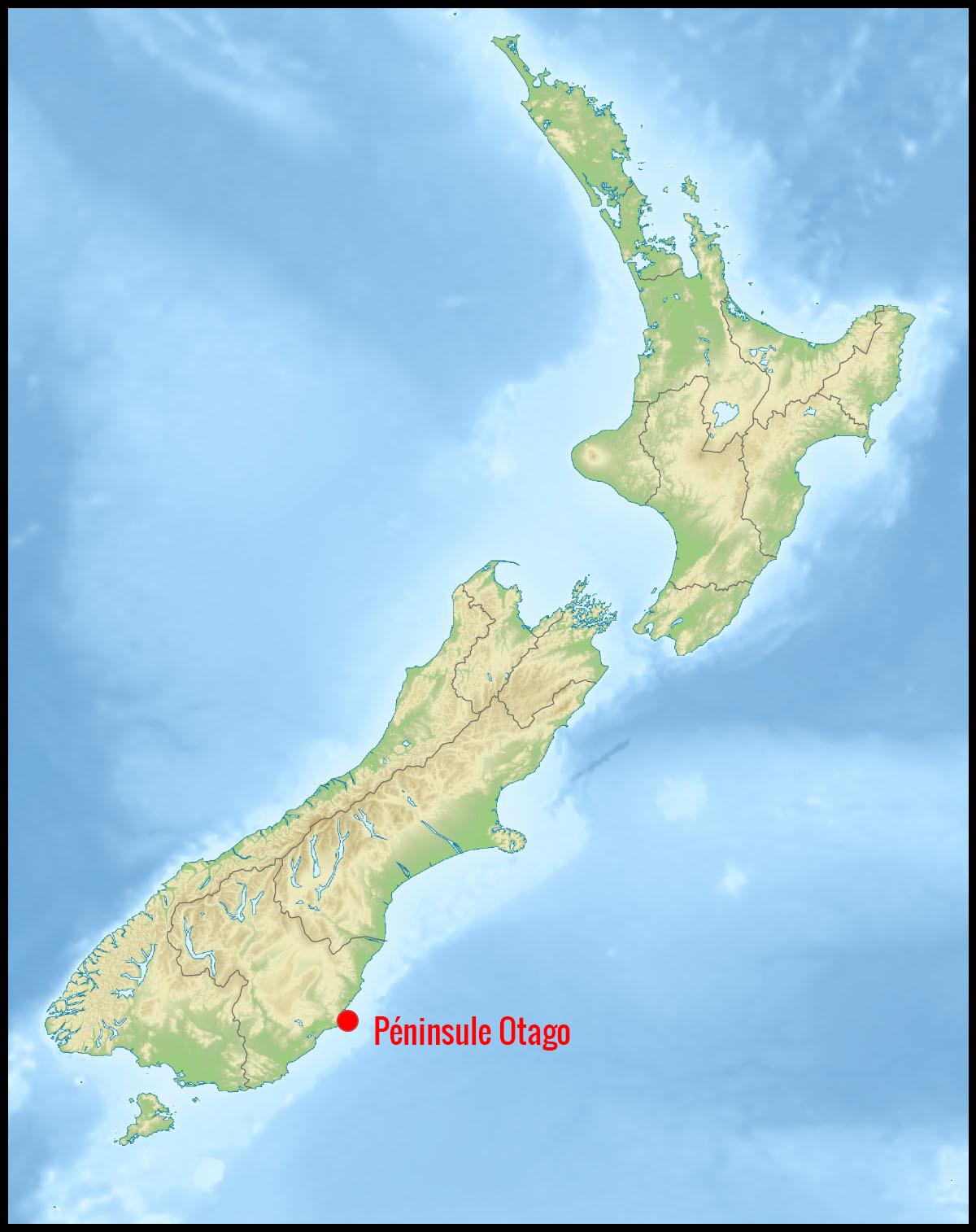 Carte péninsule Otago en Nouvelle-Zélande