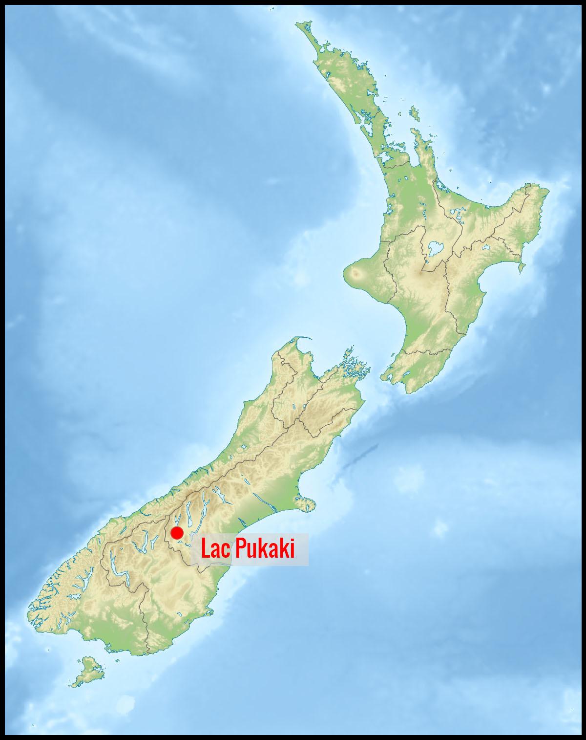 Carte lac Pukaki en Nouvelle-Zélande