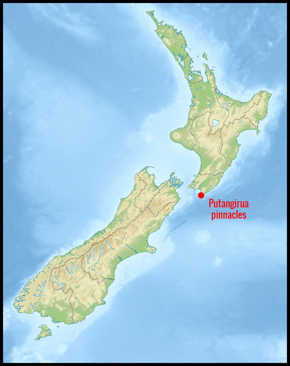 Carte Nouvelle-Zélande - Position de la réserve des Putangirua pinnacles
