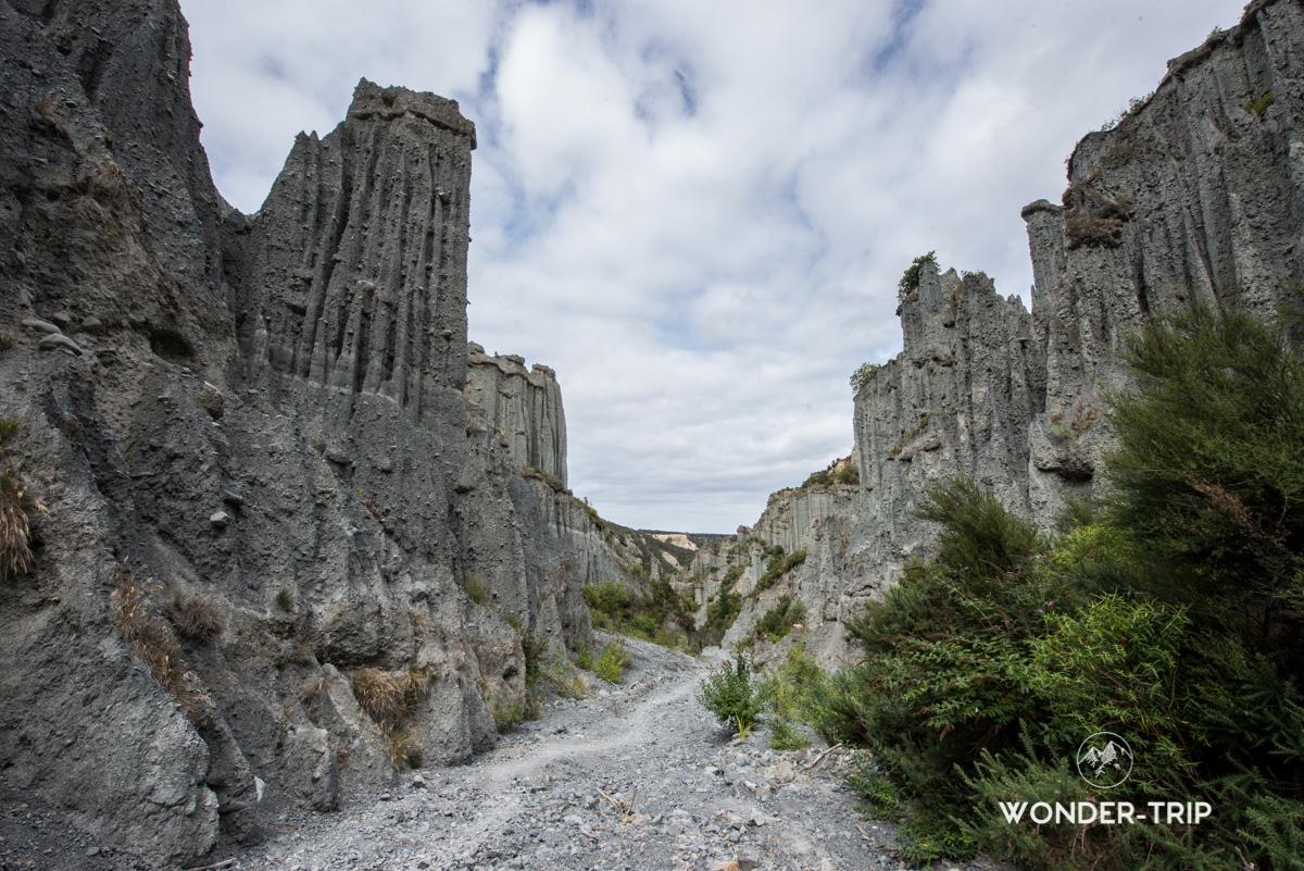 Paysage sur la randonnées des Putangirua pinnacles