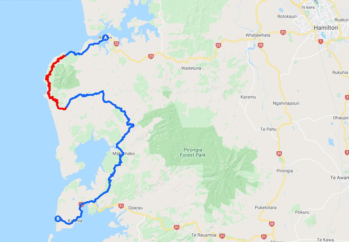 Carte itinéraire road trip Raglan - Waikato - Nouvelle-Zélande