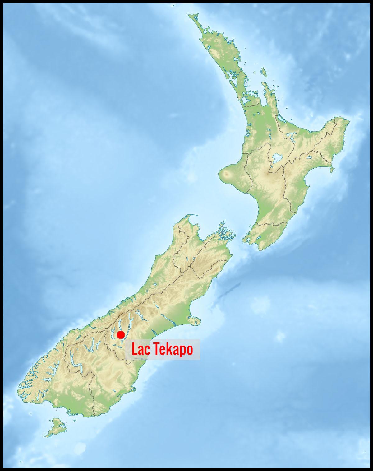 Carte lac Tekapo en Nouvelle-Zélande
