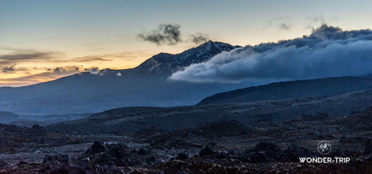 Coucher de soleil sur Tongariro Northern circuit