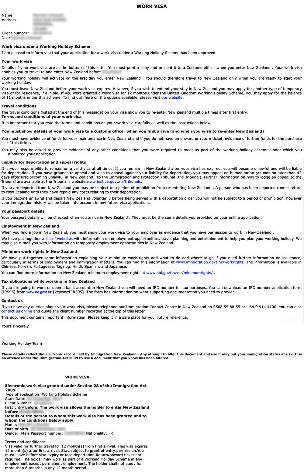 Exemple d'un PVT - Visa du Permis Vacances Travail