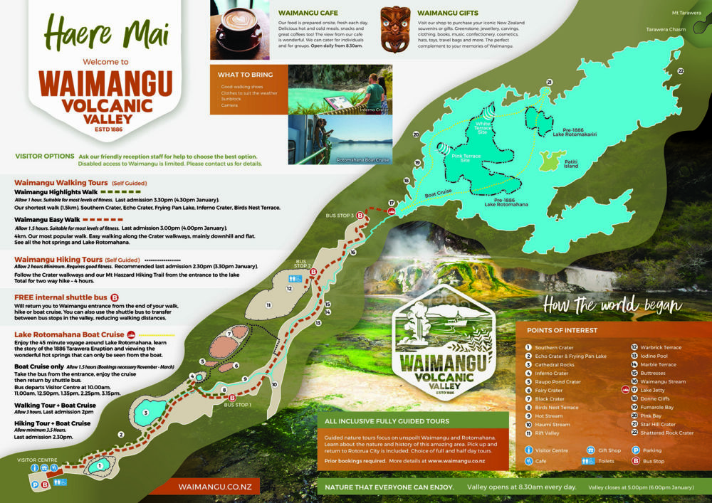 Carte de la Waimangu Volcanic Valley